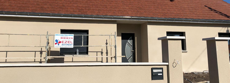 Façade maison neuve réalisée par Ezel Bâtiment près de Louhans, Beaune, Dijon, Chalon, Le Creusot...